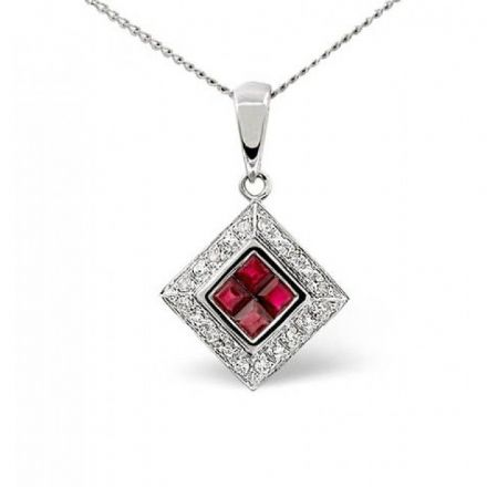 9K White Gold 0.08ct Diamond & 0.46ct Ruby Pendant, E2278